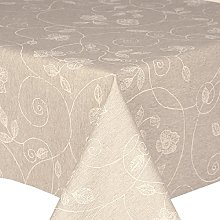 Acrylic Coated Tablecloth White Stencil Leaf 3.5