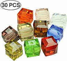 Acrylic Cube Crystal Beads 10mm Drops Assorted