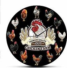 Acrylic Wall Clock Farm Animal Rooster Modern