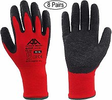 ACTIVE GEAR Safety Work Gloves, for Protection and Extreme Gripping Power, in Construction, Logistics, Maintenance and Gardening, Red, 8 Pairs (Size 10 / XL)