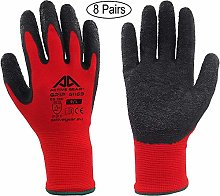ACTIVE GEAR Safety Work Gloves, for Protection and Extreme Gripping Power, in Construction, Logistics, Maintenance and Gardening, Red, 8 Pairs (Size 9 / L)
