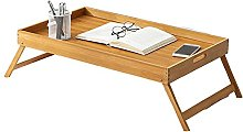 ACUIPP Bed Wooden Side Table, Foldable Desk with