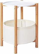 ACUIPP Sofa Side Table White Gray, Basket Round