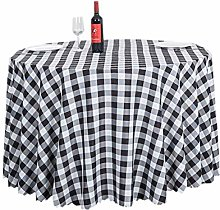 ACVIP Checkered Round Tablecloth Table Cover for