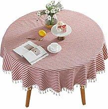 ACVIP Stripe Tassel Tablecloth Round Cotton Linen
