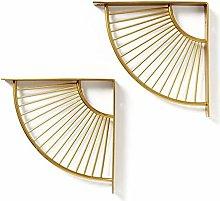 ACXZ 8inch 12inch Art Deco Shelf Brackets, Golden