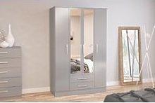 Adalee Grey 4 Door 2 Drawer Wardrobe with Mirror