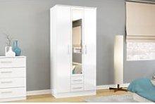 Adalee White 3 Door 2 Drawer Wardrobe with Mirror