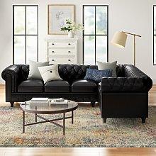 Adaline Chesterfield Corner Sofa Three Posts