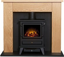Adam 1.8kW Electric Stove Suite - Oak & Black