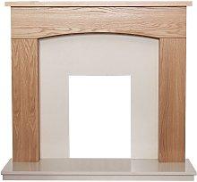 Adam Bretton Fireplace in Oak & Beige Marble, 48