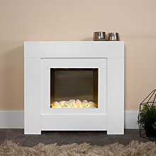 Adam Brooklyn White Electric Fireplace Suite -
