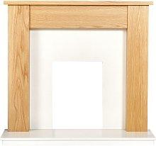 Adam Buxton Fireplace in Oak & White Marble, 48