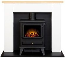 Adam Chester Fireplace in Pure White with Hudson