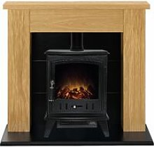 Adam Chester Oak Surround Electric Fireplace Suite