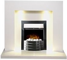 Adam Cuba White Marble Fireplace with Comet