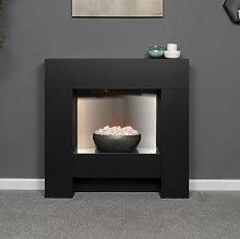 Adam Cubist Black Electric Fireplace Suite - 22616