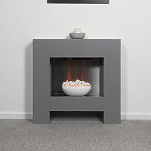 Adam Cubist Grey Electric Fireplace Suite - 22617