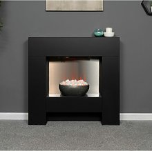 Adam Cubist Modern Black Surround Fireplace Stove