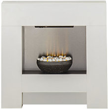 Adam Cubist Pure White Electric Fireplace Suite -