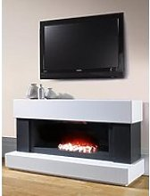 Adam Fires & Fireplaces Verona White/Grey Electric