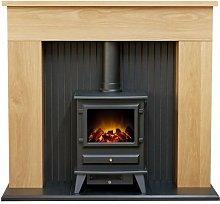 Adam Innsbruck Stove Fireplace in Oak with Hudson