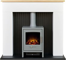 Adam Innsbruck Stove Fireplace in Pure White with