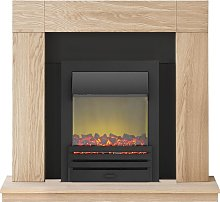 Adam Malmo Fireplace Suite in Oak with Eclipse