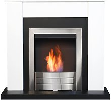 Adam Solus Fireplace Suite in Black & White with