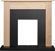 Adam Southwold Fireplace in Oak & Black, 43 Inch