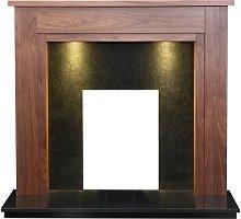Adam Sudbury Fireplace in Walnut & Black Granite