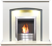 Adam Tuscany Fireplace in Pure White & Grey with