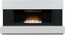 Adam Verona White Electric Fireplace Suite Fire
