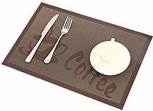 Addfun Table Mats(Set of 6), Coffee patterns PVC
