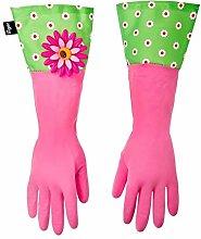 Addis Vigar Flower Power Gloves, Green/Pink, 2