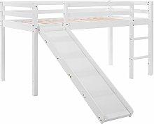ADFBL Childrens Cabin Bed Frame with Slide Ladder,