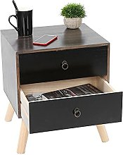 ADHW 2 Drawer Wooden Bedside Table Cabinet