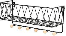 ADHW Wall Mounted Shelf Hooks Basket Wire Rack