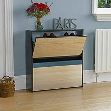 ADHW Welham 2 Drawer Mirrored Shoe Cabinet Storage