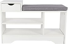 ADHW White Shoe Bench Shoes Storage Rack Cabinet