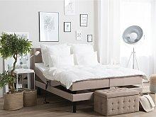 Adjustable Bed Beige Fabric Upholstery Super King