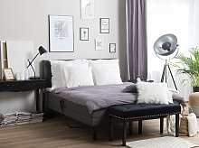 Adjustable Bed Grey Fabric Upholstery King Size