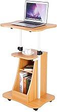 Adjustable Computer Desk with Wheels, Wooden