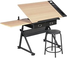 Adjustable Drawing Table with Tiltable Tabletop/2