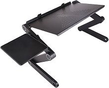 Adjustable Laptop Stand Aluminum Alloy Bed Table Stand Foldable Legs Laptop Notebook Riser Reading Holder Tray with Mouse Pad,model:black