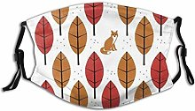 Adjustable Mask Autumn Fox Foliage Dot Wildlife