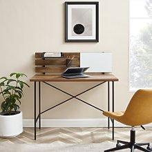 Adjustable Wooden Office Desk with Slatted Back -