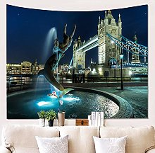 AdoDecor City Night View Living Room Tapestry Wall