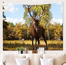 AdoDecor Decor Polyester Fabric Deer Tapestry Wall
