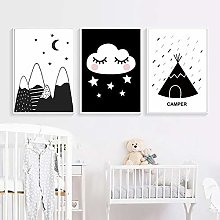 AdoDecor Nordic Poster Cloud Tent Brave Quotes